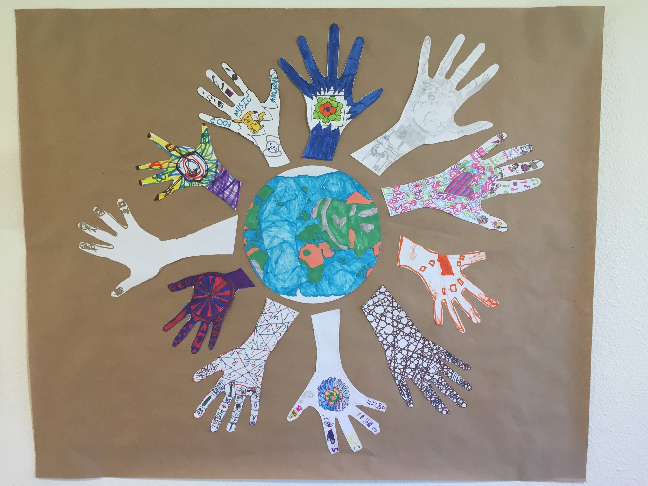 The kids at our Friday School each created a hand that represents them and their personal and family cultures.