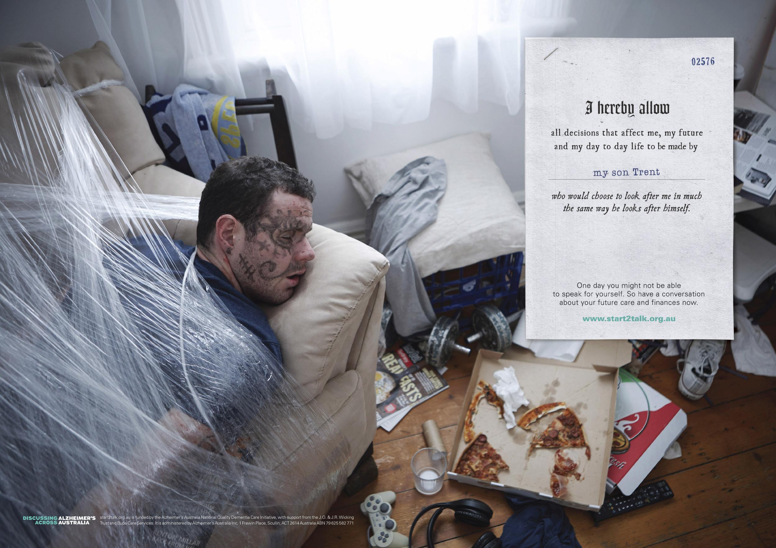 Alzheimer's Australia  Agency:Ward 6  Art Director: Grant Foster  Copywriter:Hugh Fitzhardinge  Retouching: Cream Studios