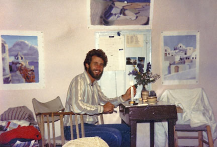 """Marty in the """"Cave House,""""Santorini"""