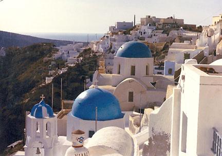 The town of Oia on Santorini, Greece