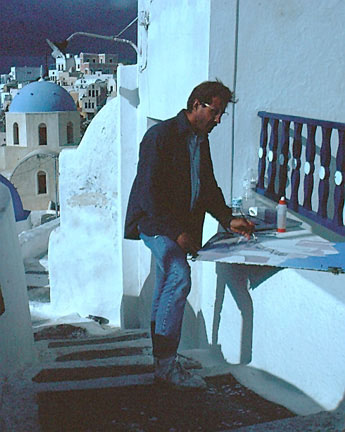Marty painting  Stone Path of Oia