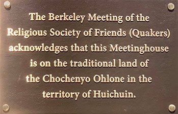 Plaque installed on the Berkeley Friends Meetinghouse.