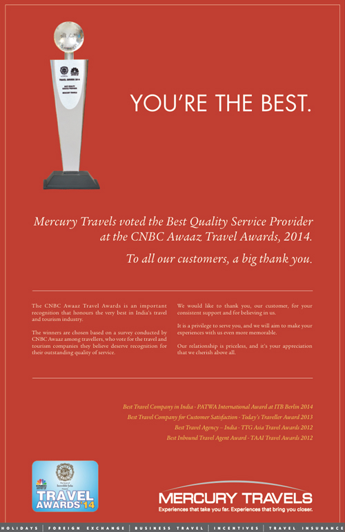Full page newspaper advertisement for Mercury Travels