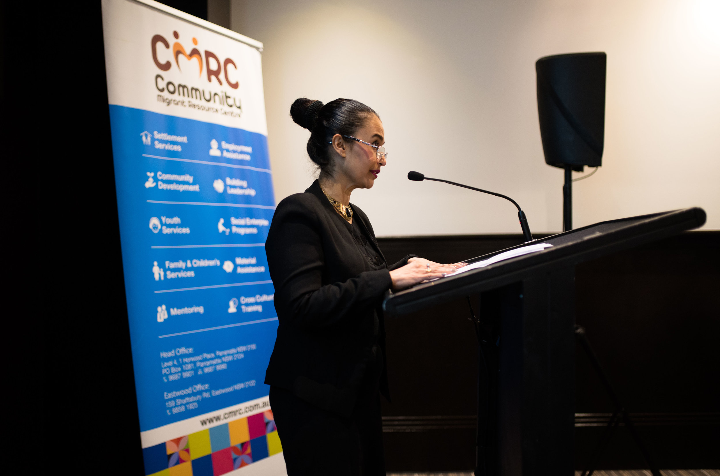 Melissa Monteiro, CEO, Community Migrant Resource Centre addresses the audience