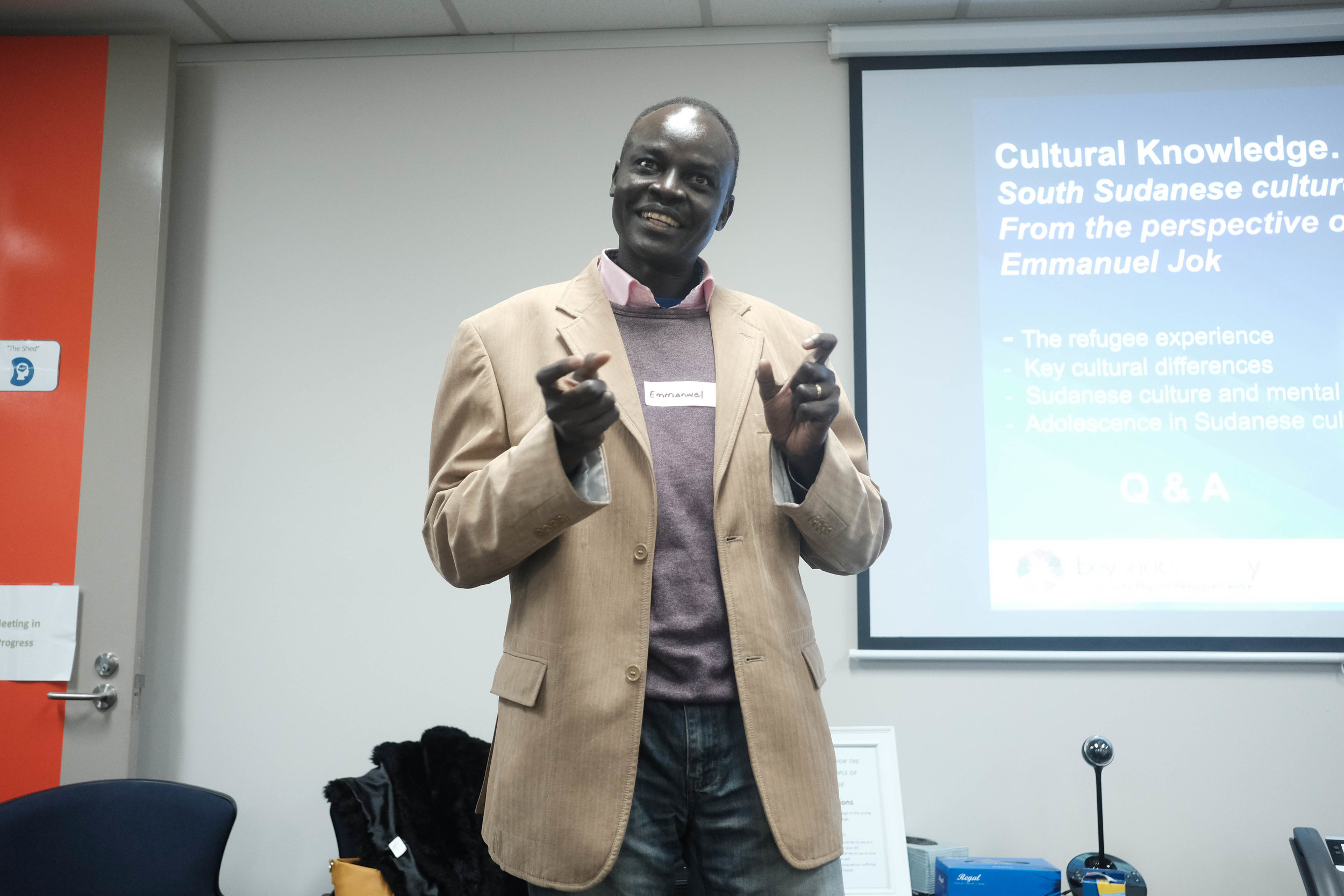 One of the Beyond Diversity Facilitators, Emmanuel talks to participants about working with South Sudanese communities and negotiating their various cultures
