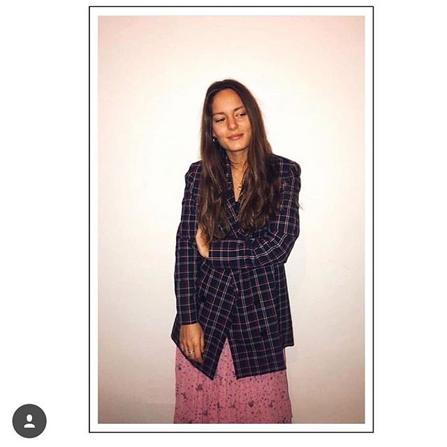 Girl in Just Female Holms Blazer @justfemale @victoriasaceanu #blazer #check #holms #brunette #fnv #italy #showroom #verona #italy #danishdesign
