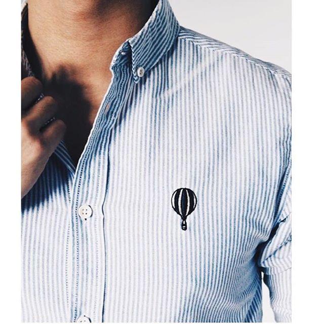 Striped cotton shirt of Anerkjendt #baloon #shirt #menshirt #stripes #cottonshirt #denmark #thoughtsofdenmark #fnv #showroom #italy #verona @anerkjendt_dk