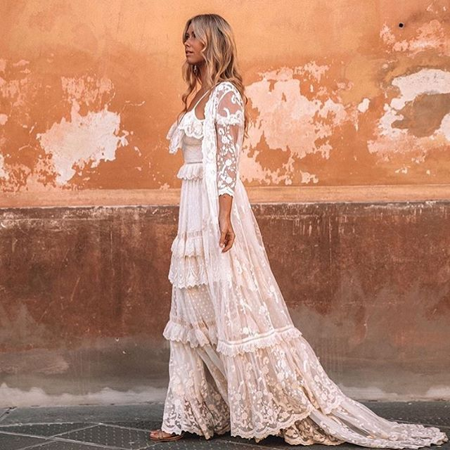 Got to love me a @spell bride ~ wonder if any of my 2019 brides will be walking down the aisle in the stunning Chloe Gown + Duster ✨ pic of @lisadanielle__ on Italian streets by @oh.so.mellow ✨ . . . . . #wedding #celebrant #byronbaywedding #byronbaycelebrant  #bride #weddinggoals  #loveandwildhearts #weddingdress #spellbride #spell #bohobride