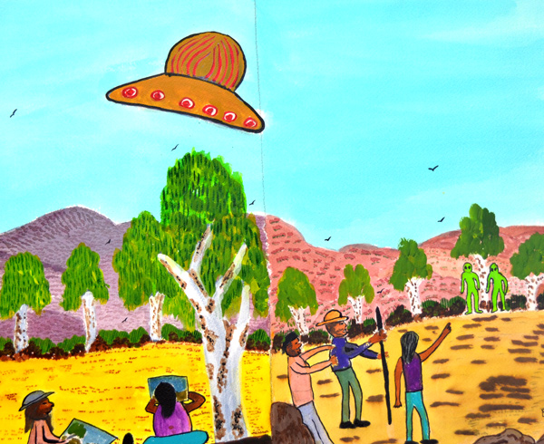 Benita Clements,  Painting near Glen Helen and seeing a UFO!