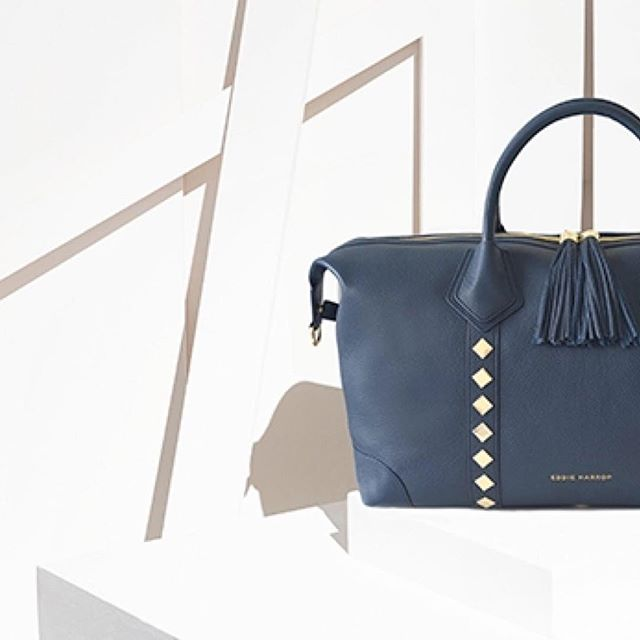 ••• Navy Stud VOYAGER Bag ••• The weekend bag for the most stylist of jet-setters #travelchic - - - - - #coolcarryon #travelista #vacationbags #eddieharrop #travels #summer