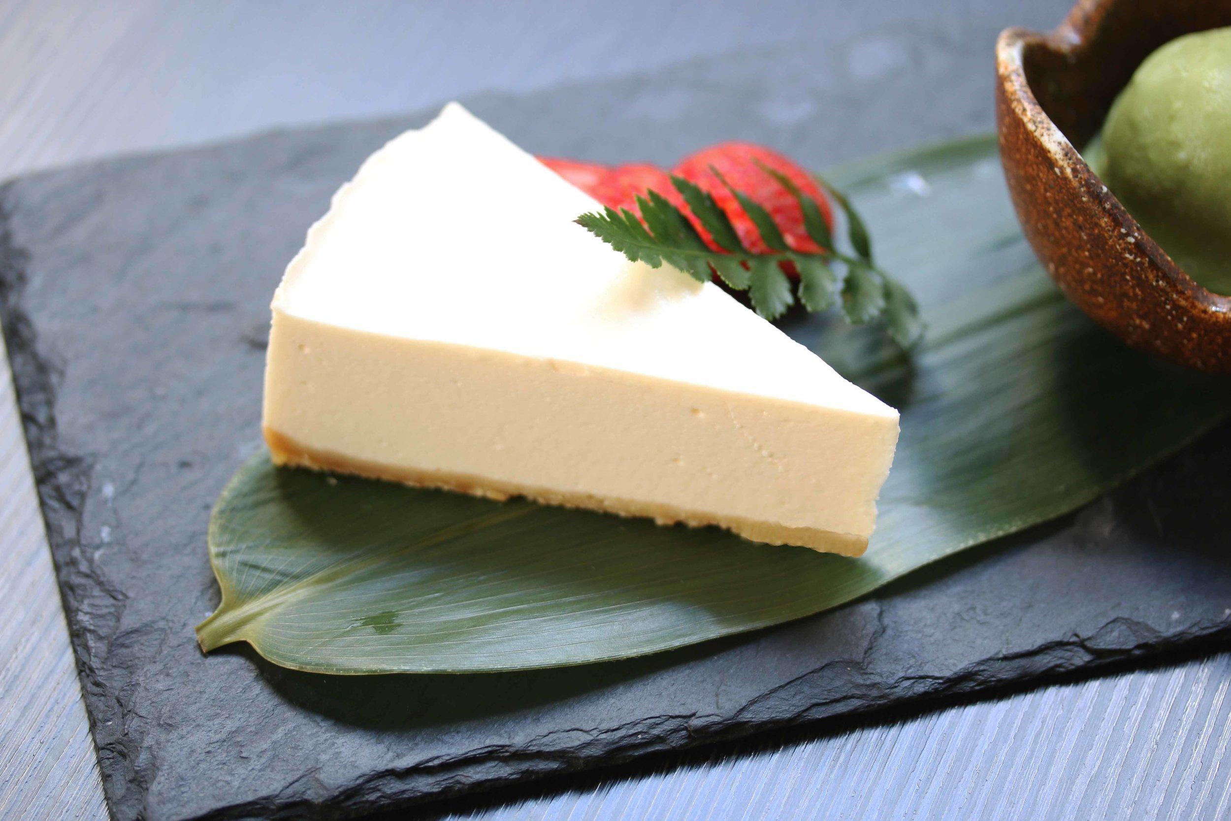 Homemade Tofu Rare Cheesecake with Green Tea Ice Cream