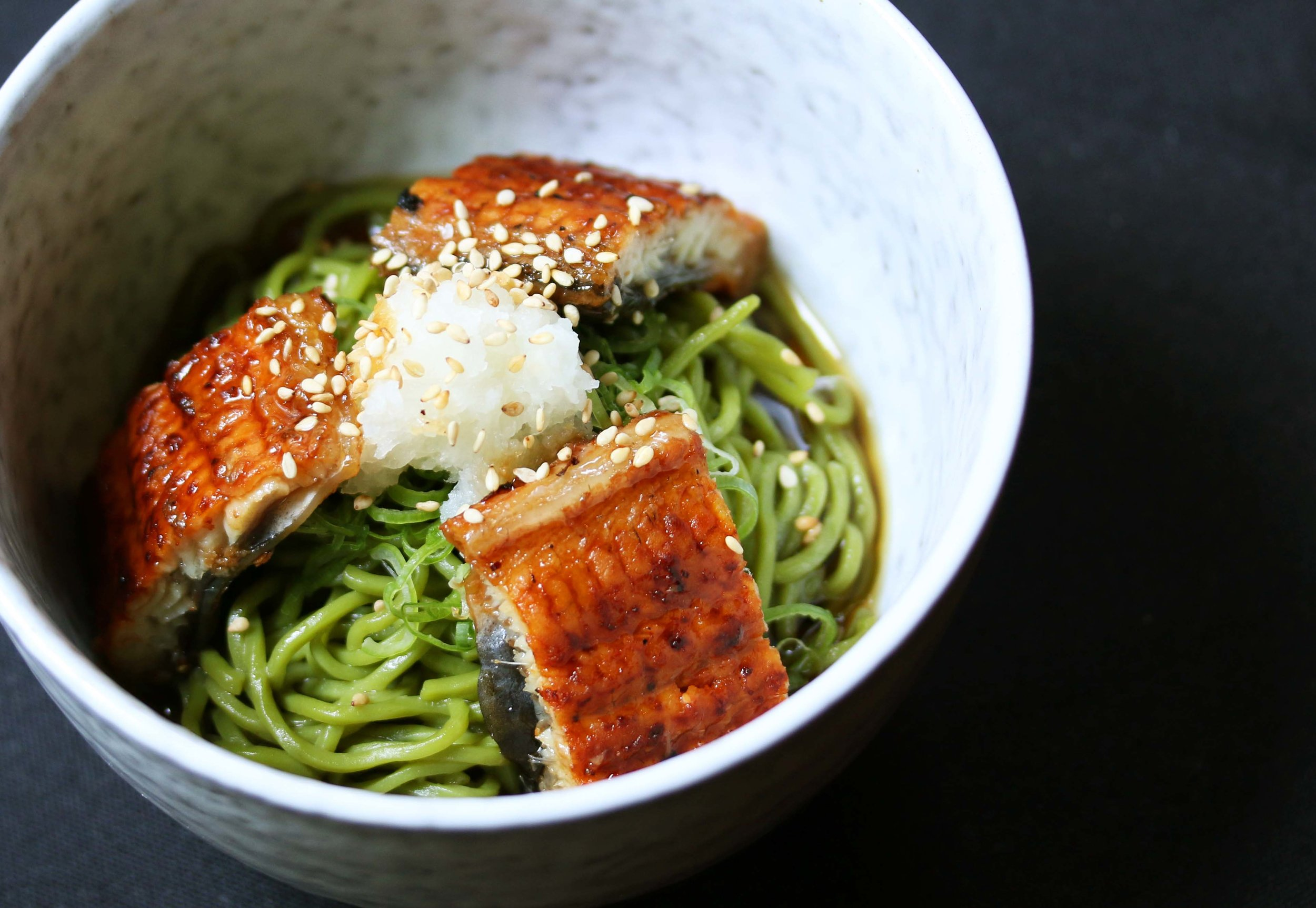Kaiseki Summer- Green tea soba topped with barbecued eel served cold