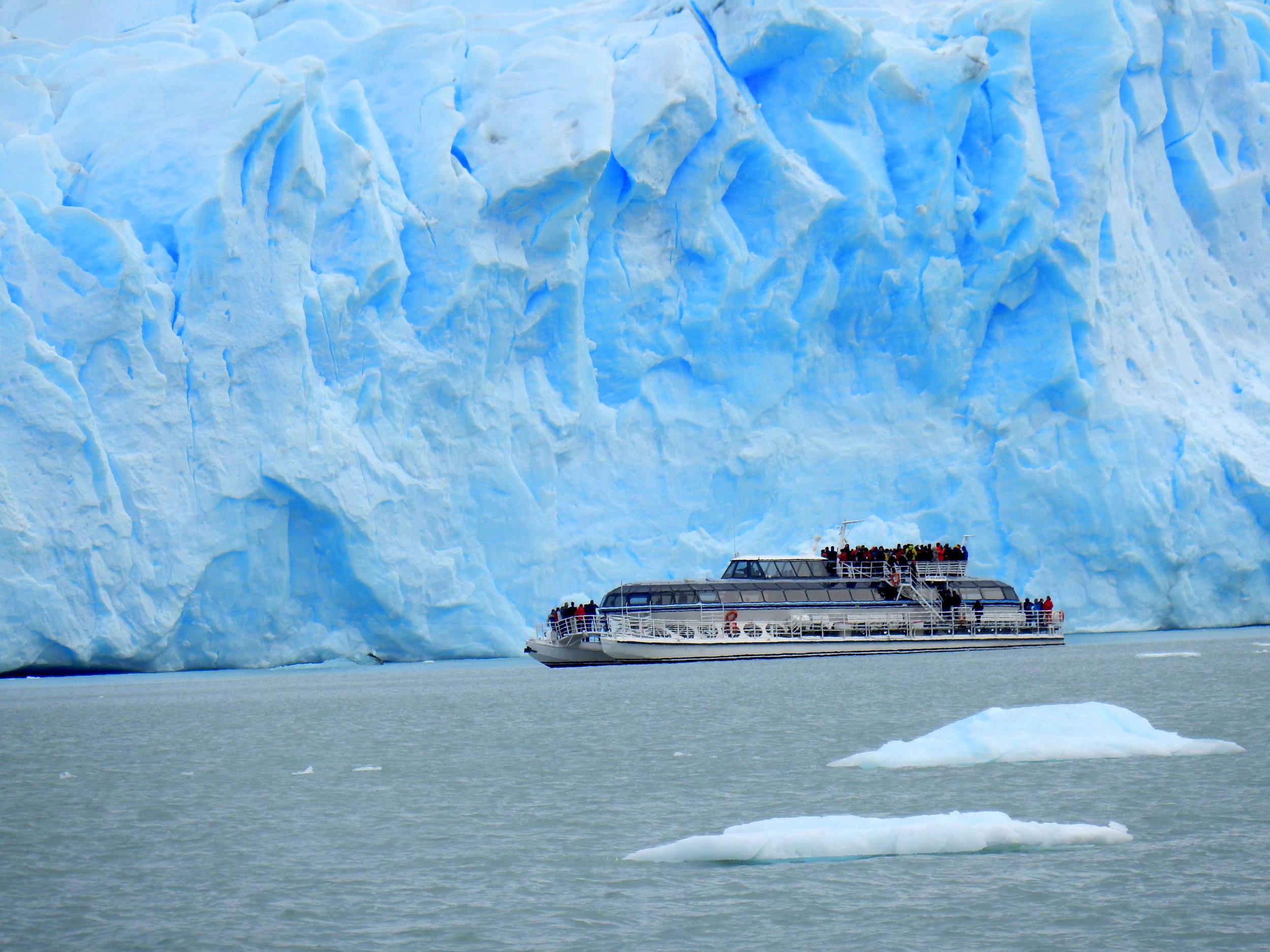 Even this boat is dwarfed by the magnificent Perito Moreno Glacier