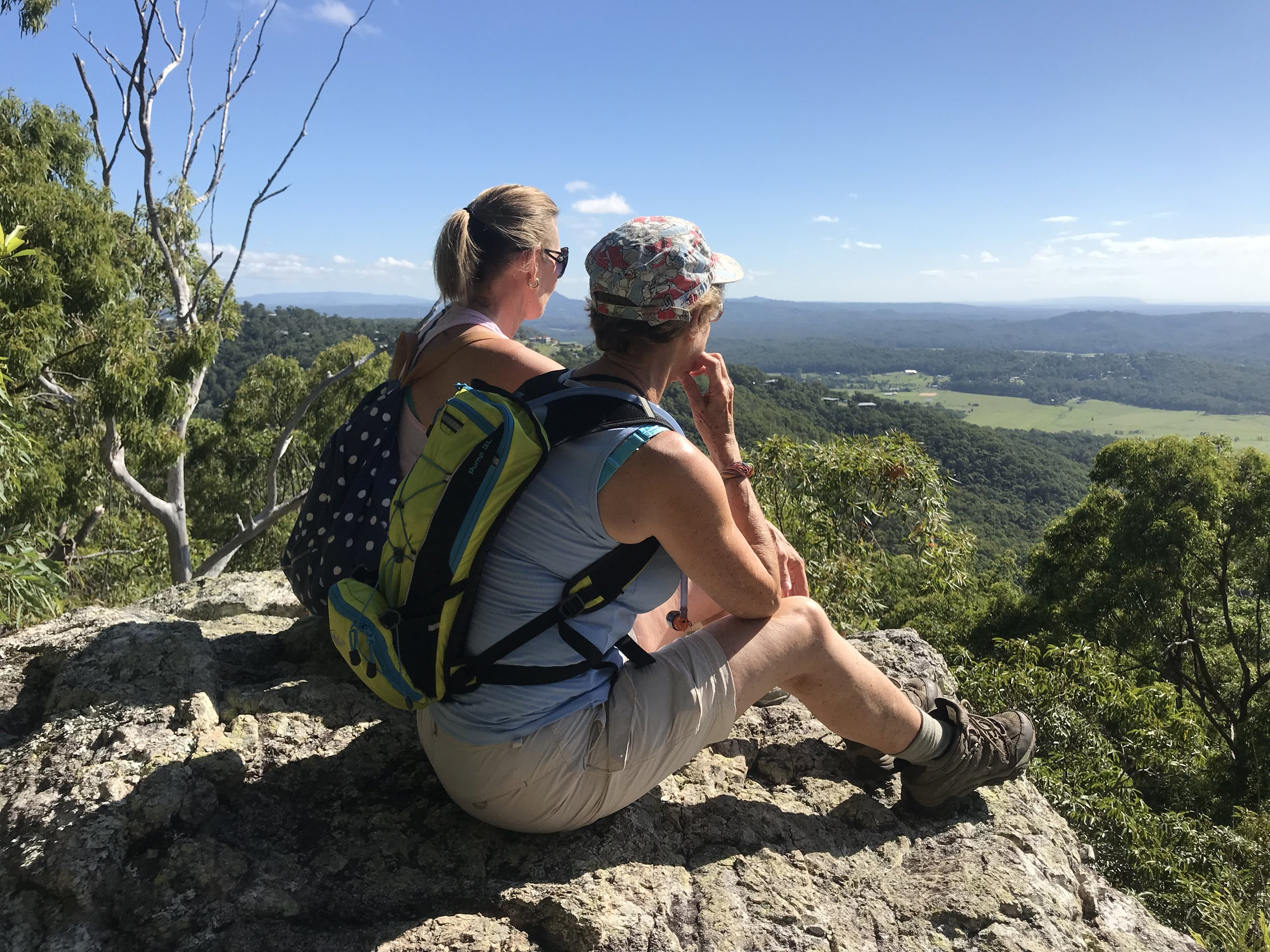 Enjoying the view from lookout on the way up to summit