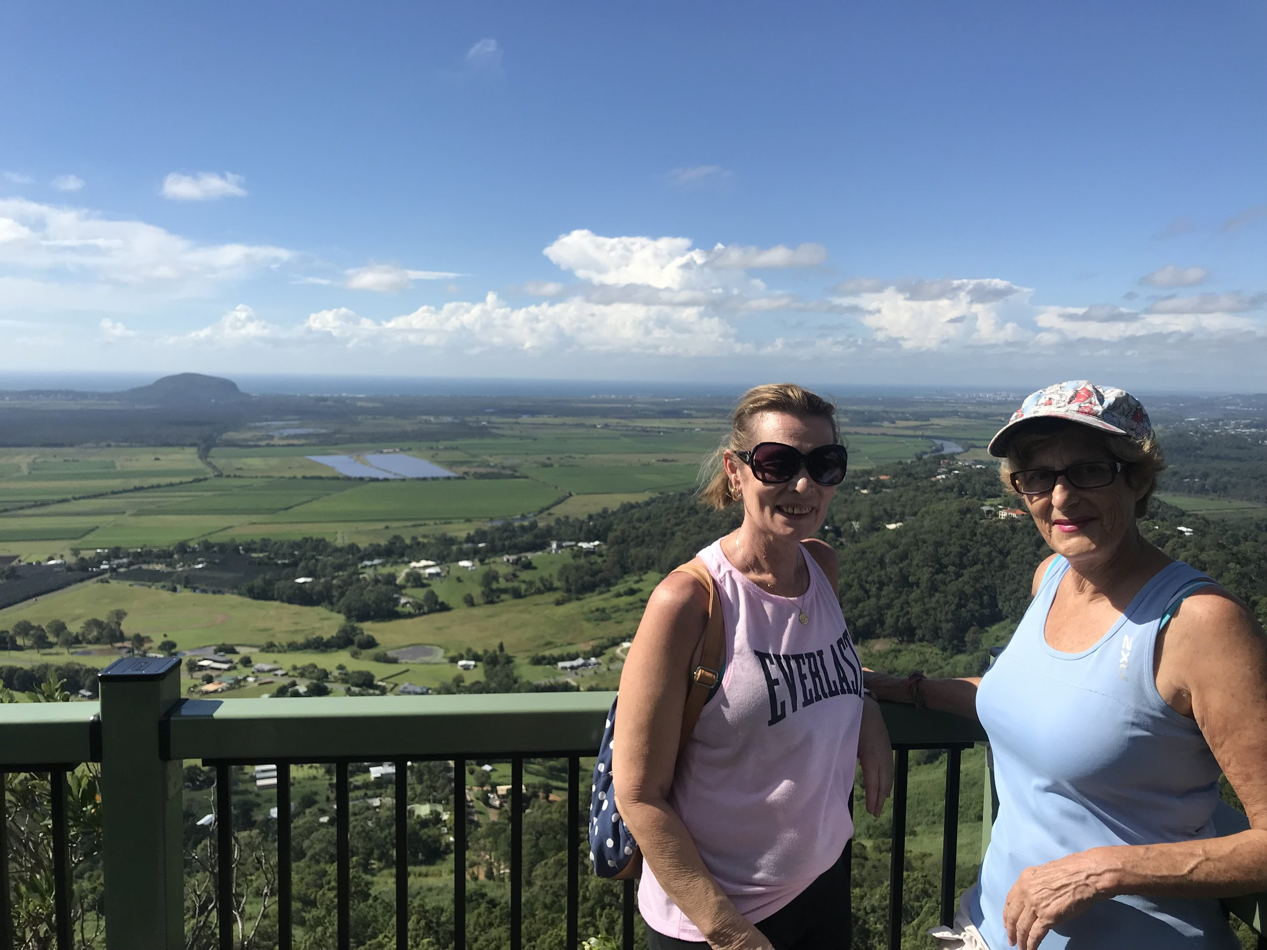 View from new lookout platform overlooking solar farm, Mt Coolum, Maroochy River