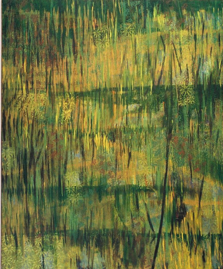 Böschung_02, 2002, Acryl, Gouache und Öl auf Leinwand, 180 x 220 cm