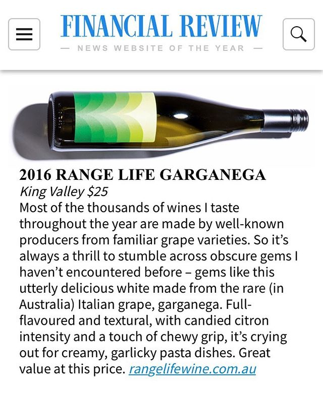 Thanks for the love @maxallendrinks @afrmag Top 24 drinks of 2018. https://www.afr.com/brand/afr-magazine/the-top-24-drinks-of-2018-20180906-h150js . . . #rangelifewine #garganega #kingvalley @liquidlibrary @agoodbunch @anonymous_wine @corkandco