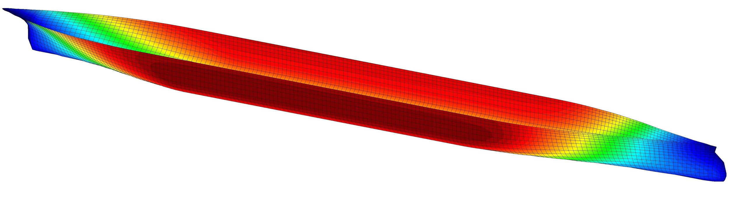 Hydrodynamic pressure distribution acting on a containership.