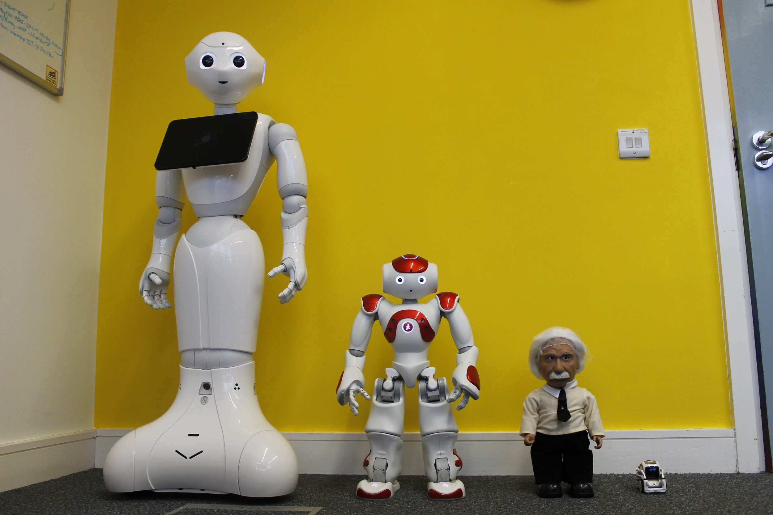 Say hello to the robotic members of the Social Robots team! - From tiny to child-sized, our robotic team members are helping us understand how people people's perceptions of robots change over time, one human-robot interaction at a time!