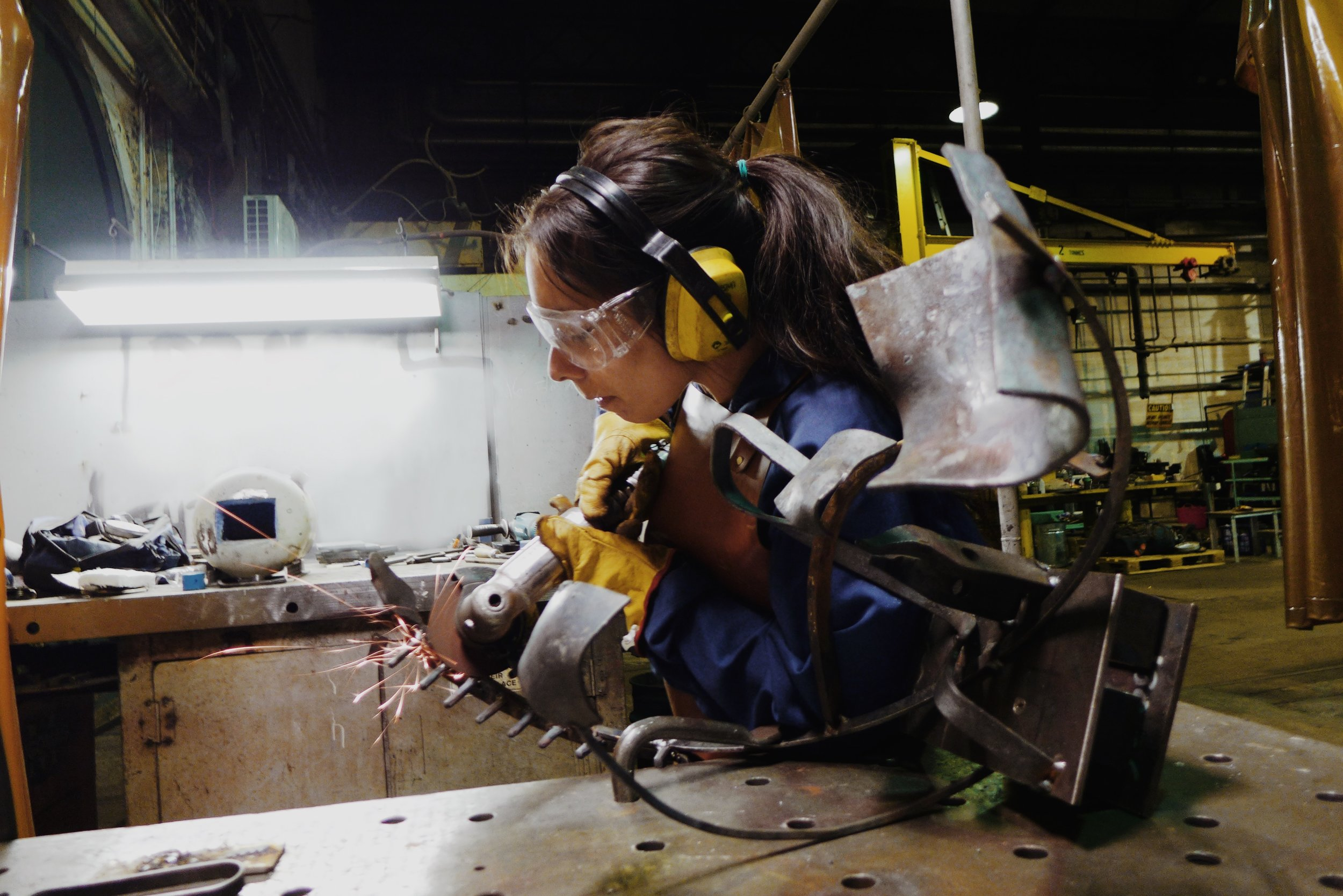 Dressing welds at the Metalwork for Sculpture course at Eveleigh