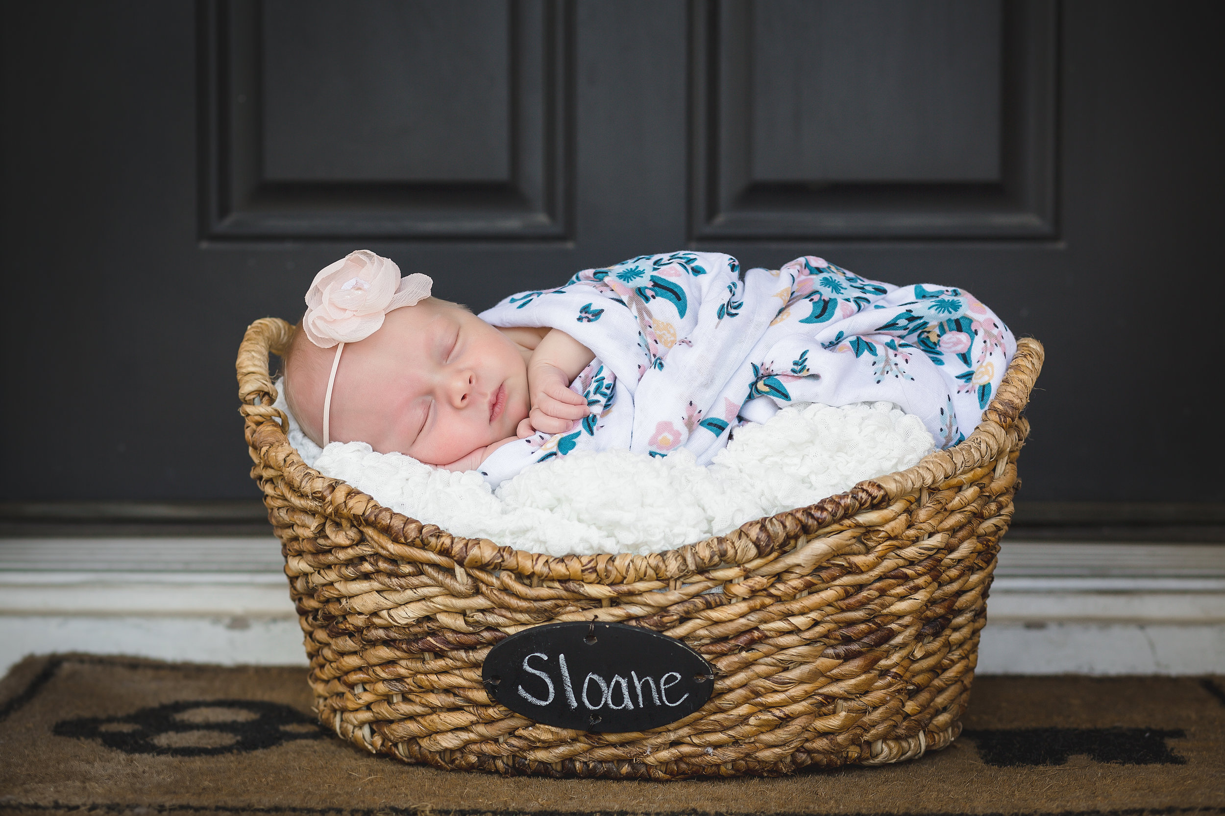 Name Basket, white blanket, pink floral headband