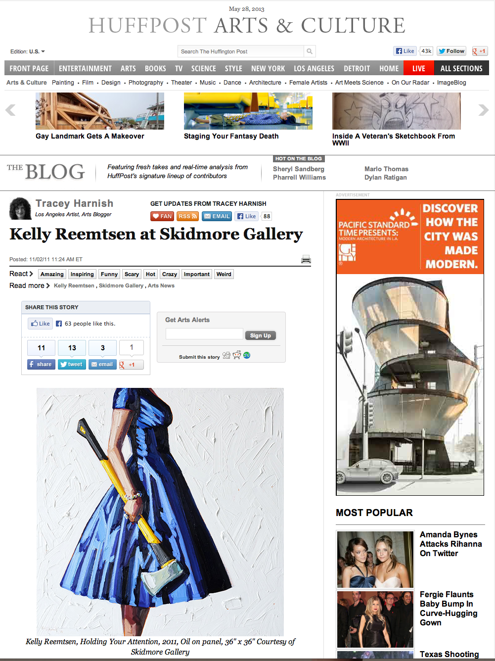 November, 2011  Huffpost, Arts & Culture - Kelly Reemtsen at Skidmore Gallery