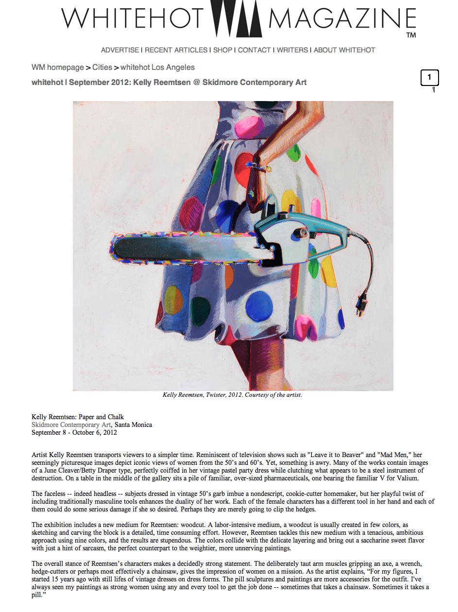 September, 2012  Whitehot Magazine, Skidmore Contemporary Art, Santa Monica - Kelly Reemtsen Paper and Chalk