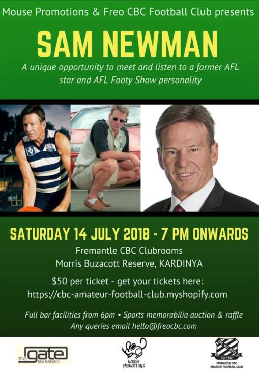 An evening with Sam Newman - Saturday 14th July, 7pm at Morris Buzzacott ReserveBuy your ticket here!