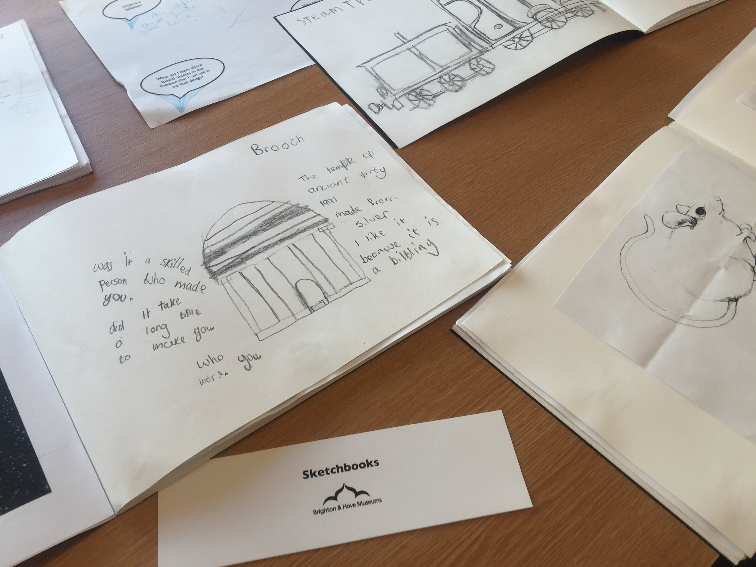 Sketchbooks from Varndean Year 7 student's #BeWell project focusing on transitions
