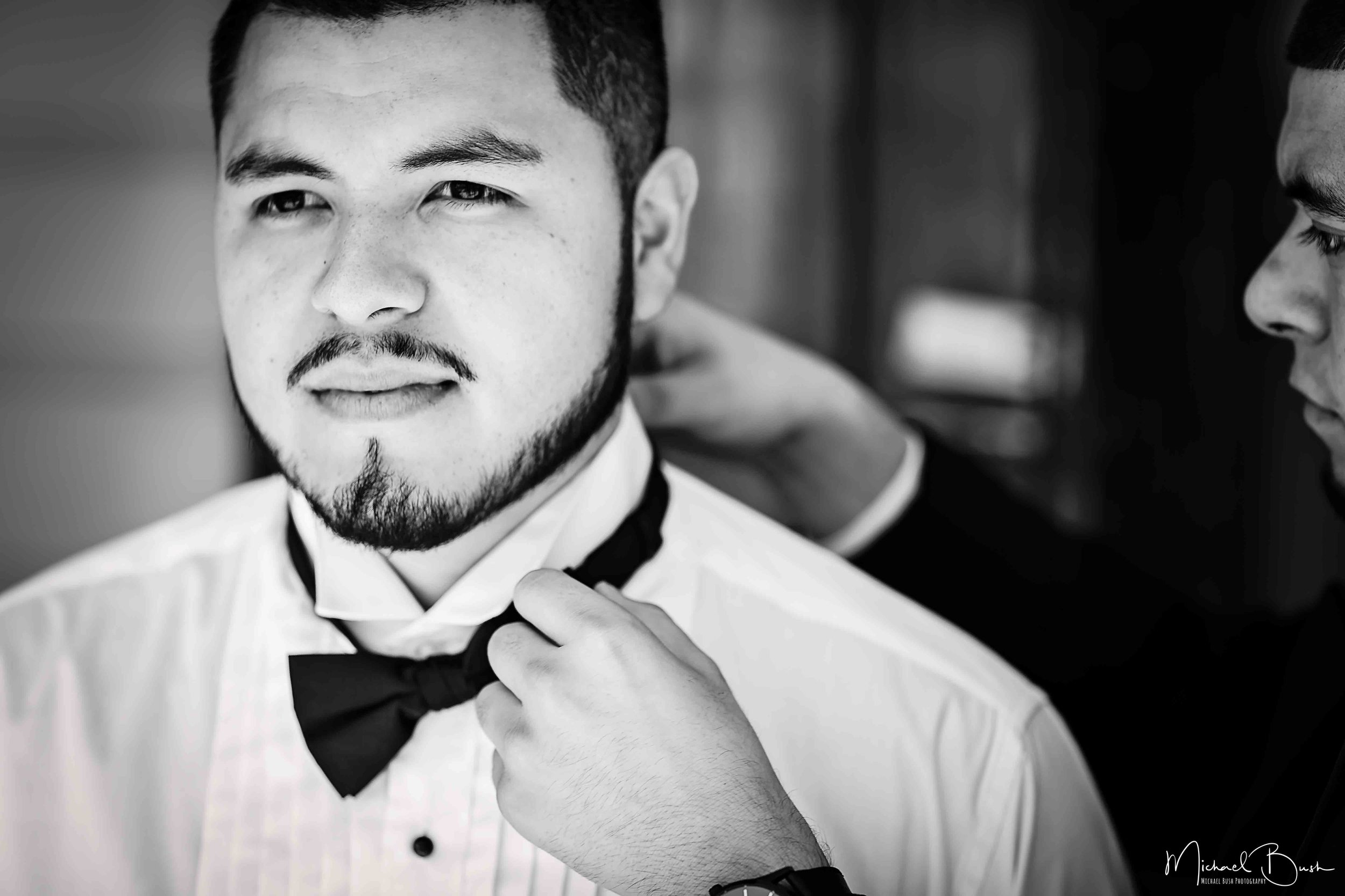 Wedding-Details-Groom-Fort Worth-b&w-Getting Ready-bestman-love-bowtie.jpg
