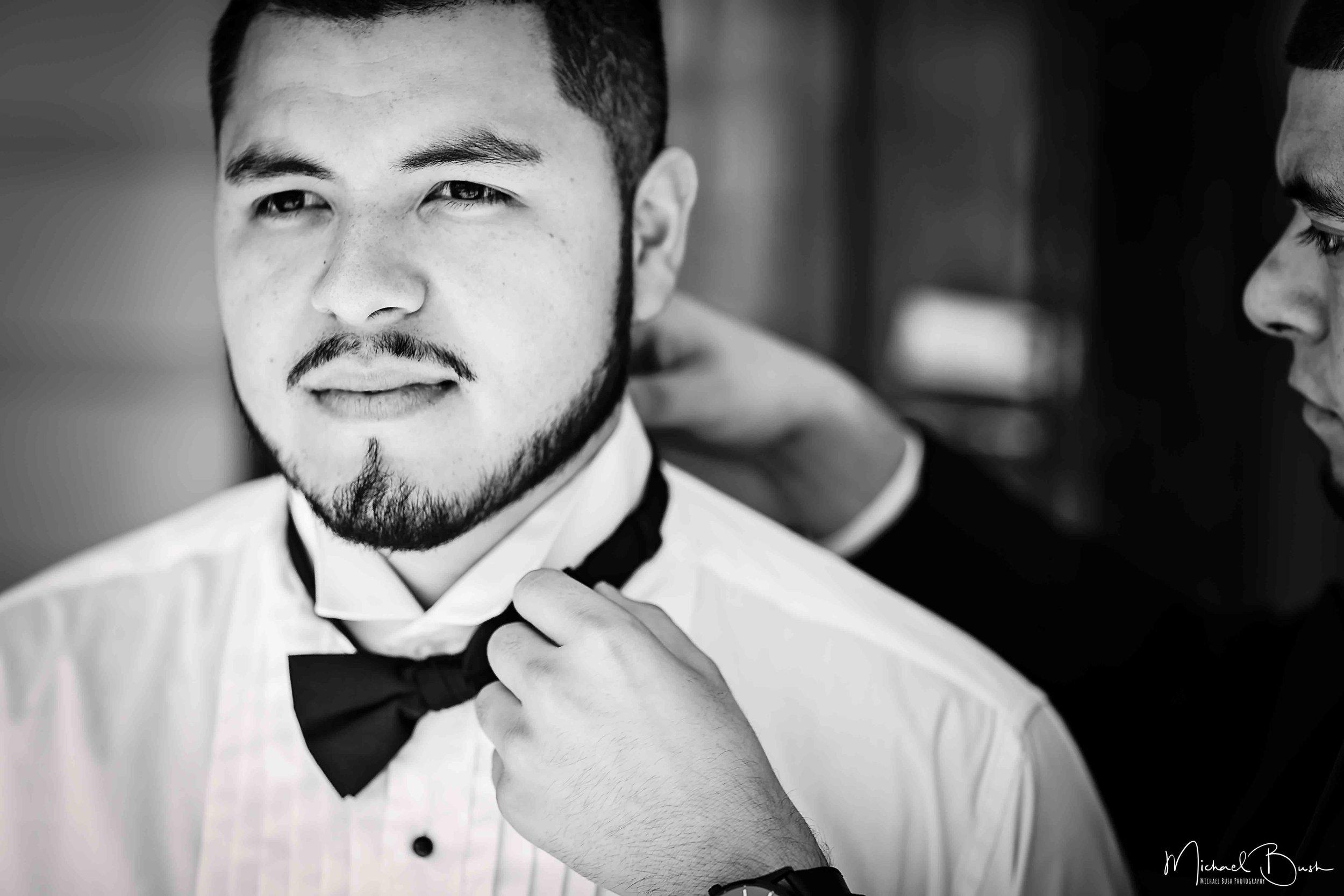 Wedding-Details-Groom-Fort Worth-b&w-Getting Ready-bestman-love-bowtie.jpg