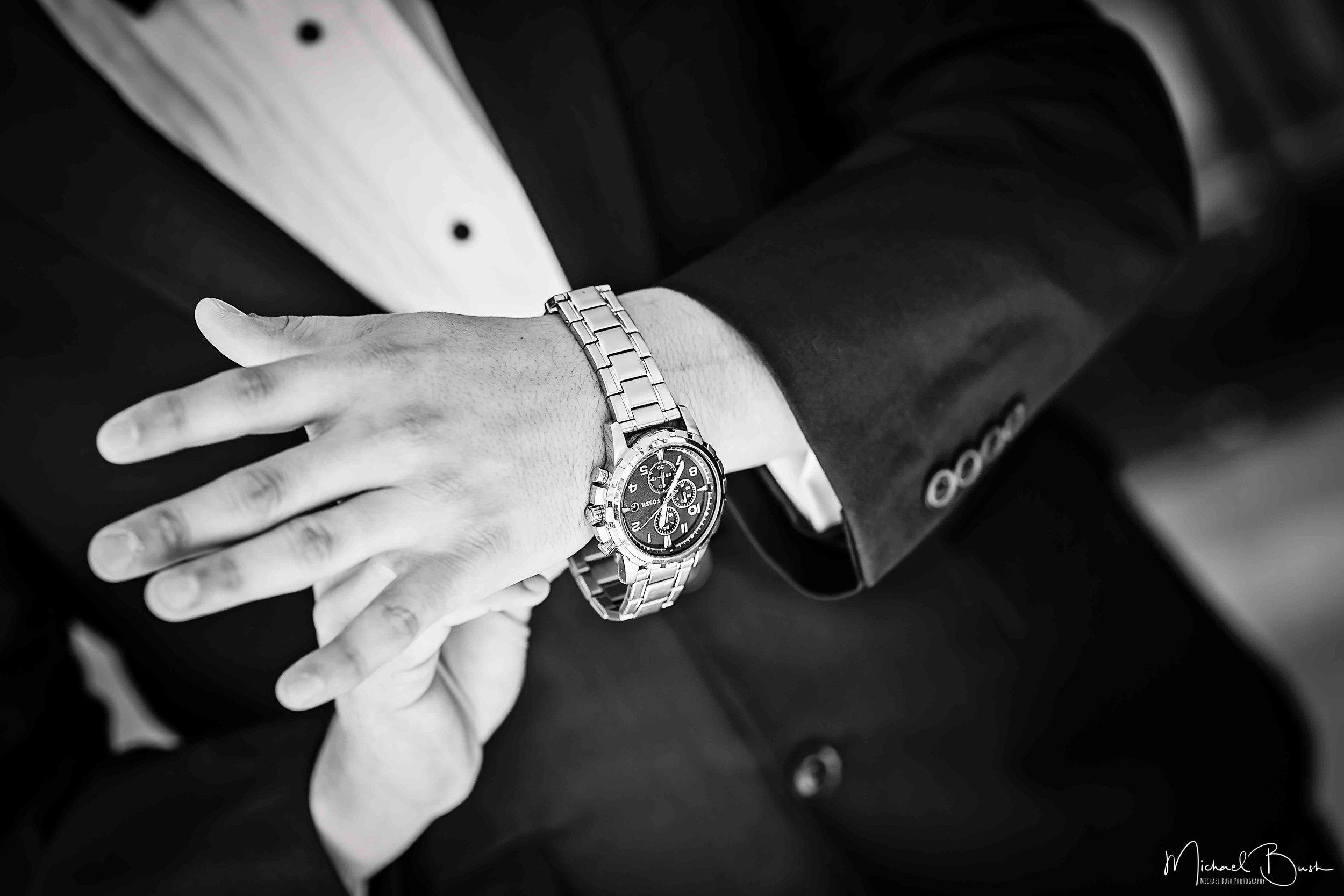 Wedding-Details-Groom-Fort Worth-b&w-Getting Ready-watch-rolex.jpg