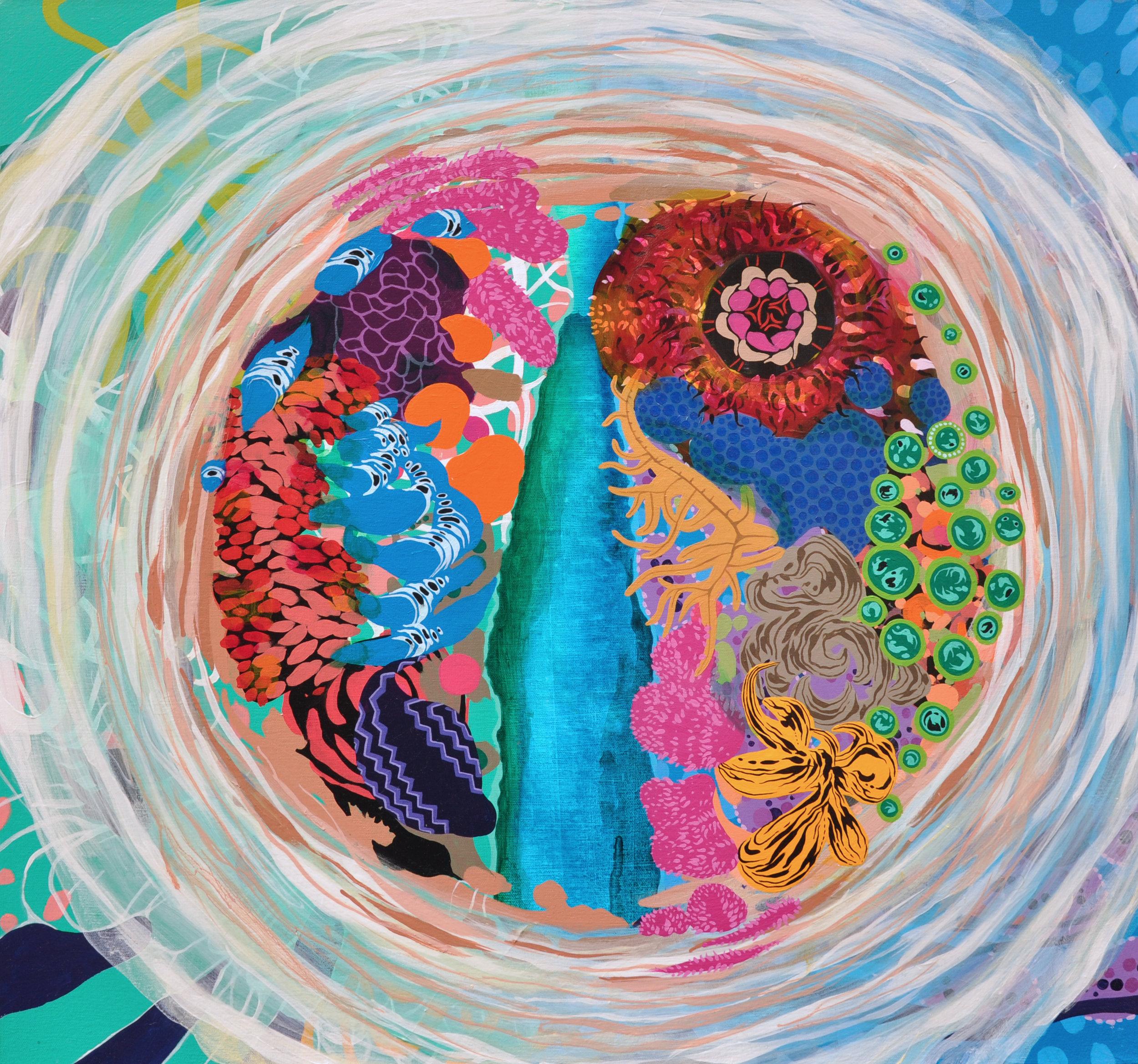 """Atoll 27"""" x 29"""", acrylic on canvas, 2015."""