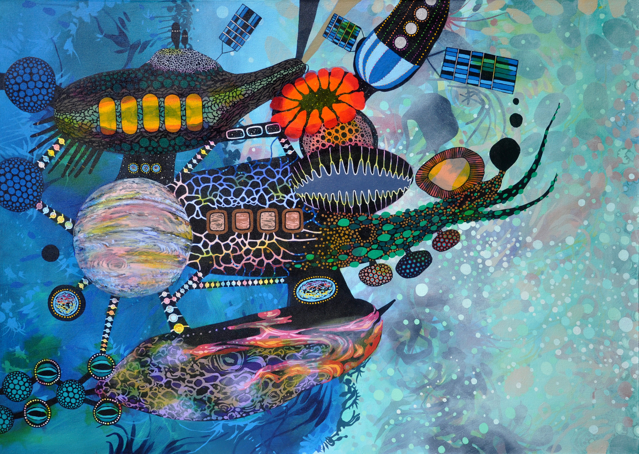 "Satellite of Love 30"" x 42"", acrylic on canvas, 2014."