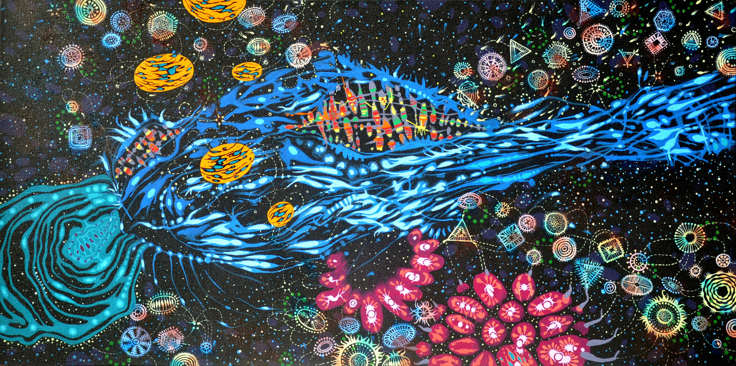 "Beam Me Up 15"" x 30"", acrylic on canvas, 2012."
