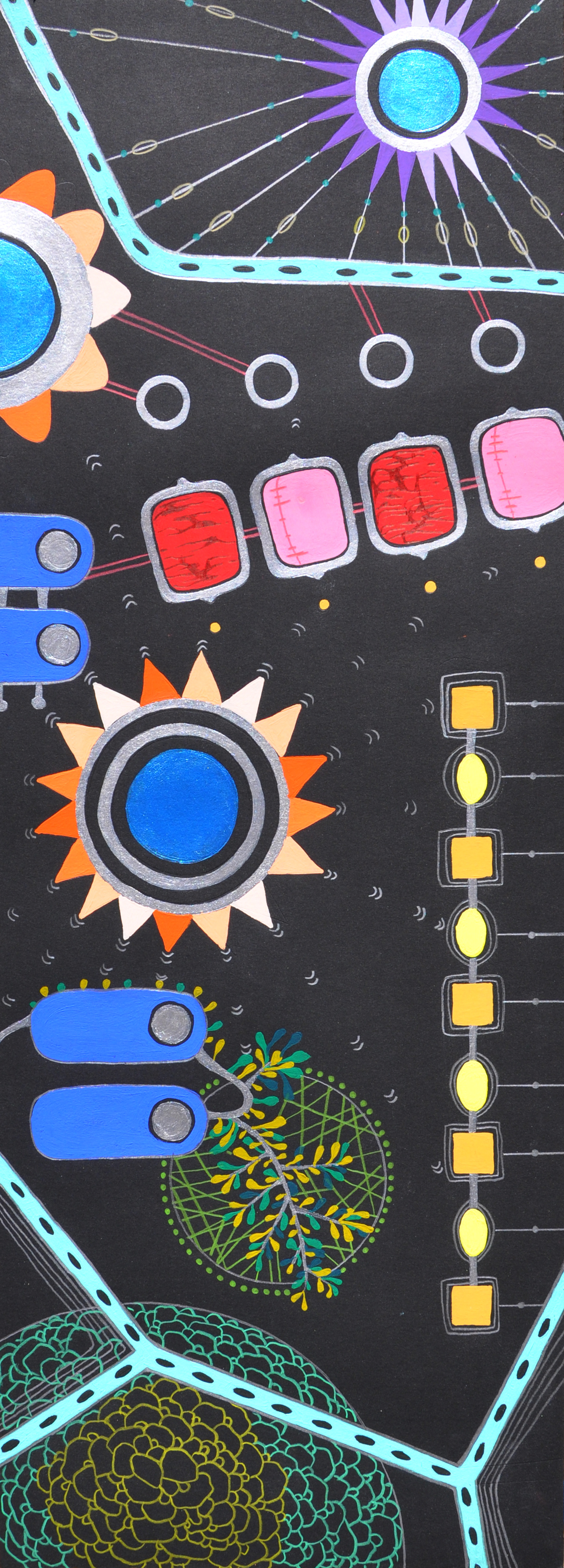 """Risk Reward  22"""" x 8"""" (unframed) gouache and colored pencil on paper, 2013"""