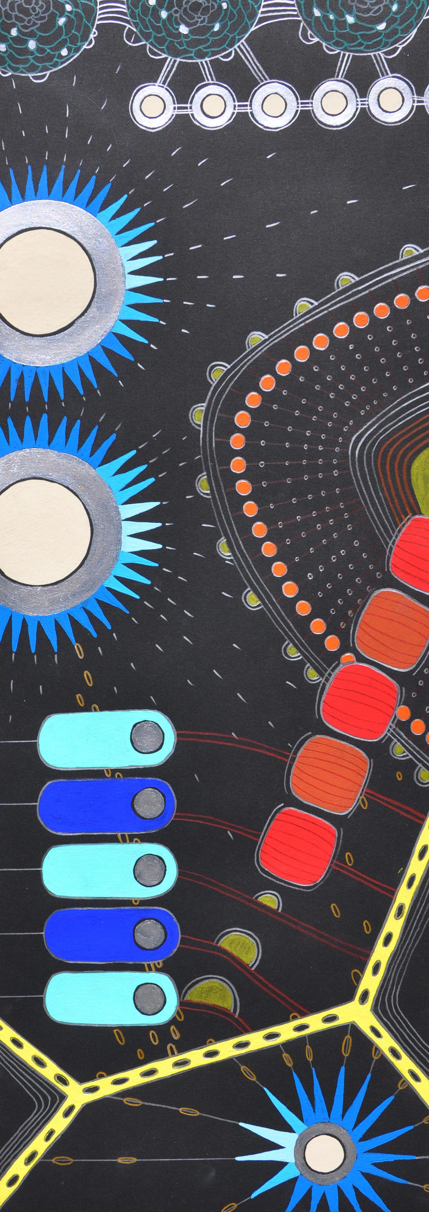 """Extra Life  22"""" x 8"""" (unframed) gouache and colored pencil on paper, 2013"""