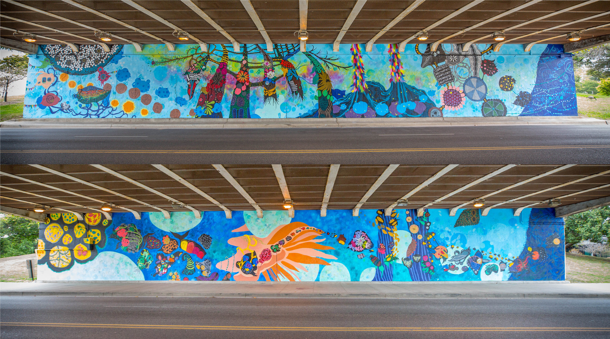A mural project at the pedestrian underpass at Fullerton and Lake Shore Drive in Chicago, each measuring 14 ft x 110 ft. In partnership with  Chicago Public Art Group  and Fullerton Mural L3C. Photography by Shirley Naninni.