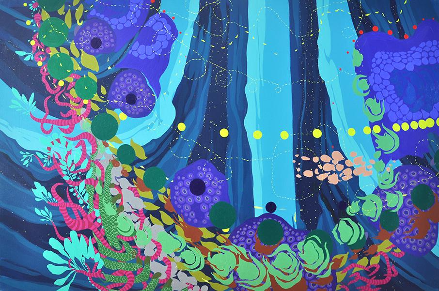 "Night Croquet   40""x60"", acrylic on canvas"