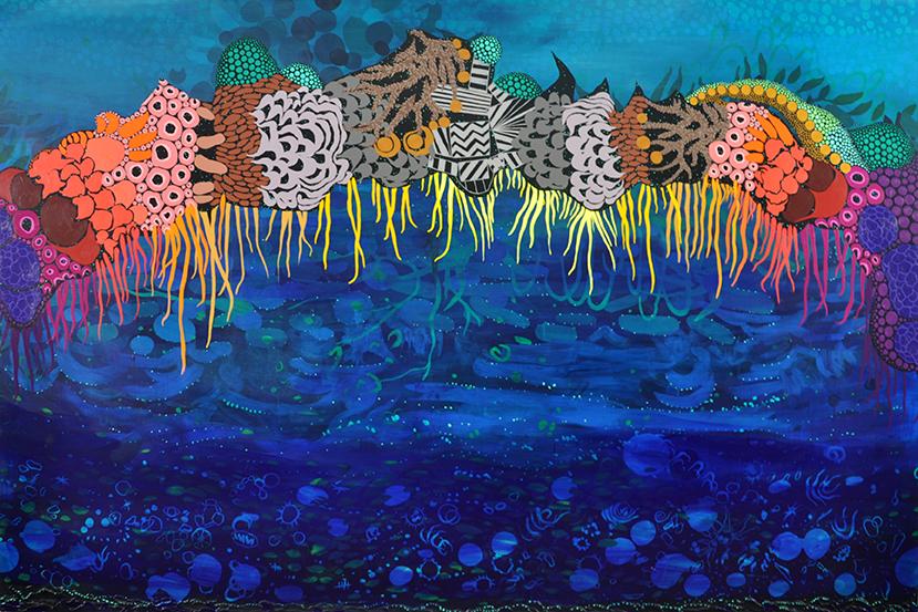 """Drawbridge   48""""x72"""", acrylic on canvas"""