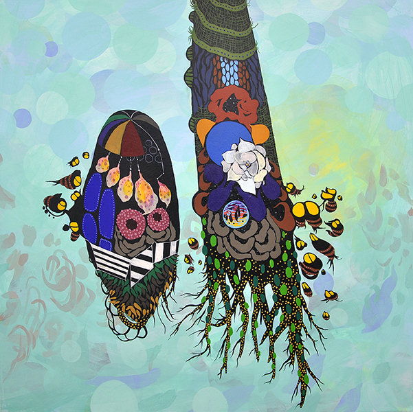"Love Buzz   30""x30"", acrylic on canvas"