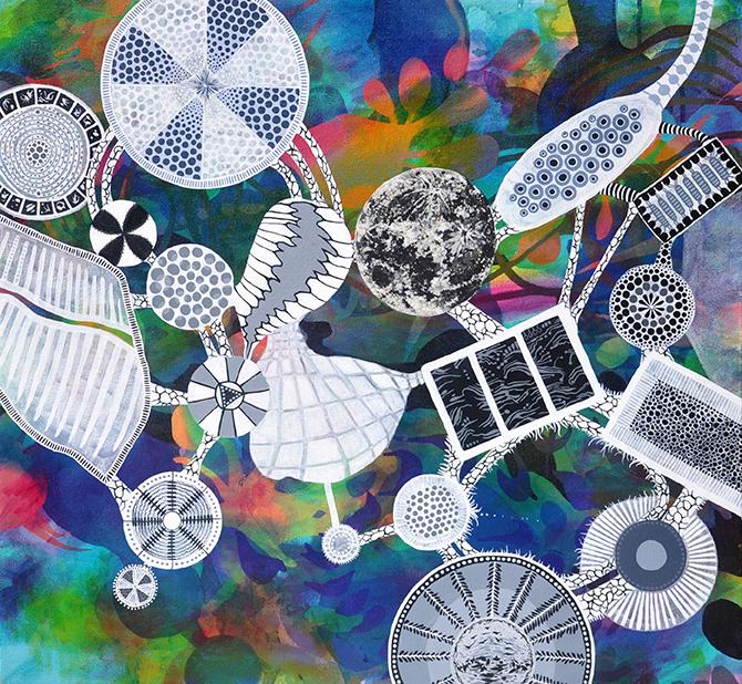 "Under Moon 26"" x 28"", acrylic on canvas, 2013."