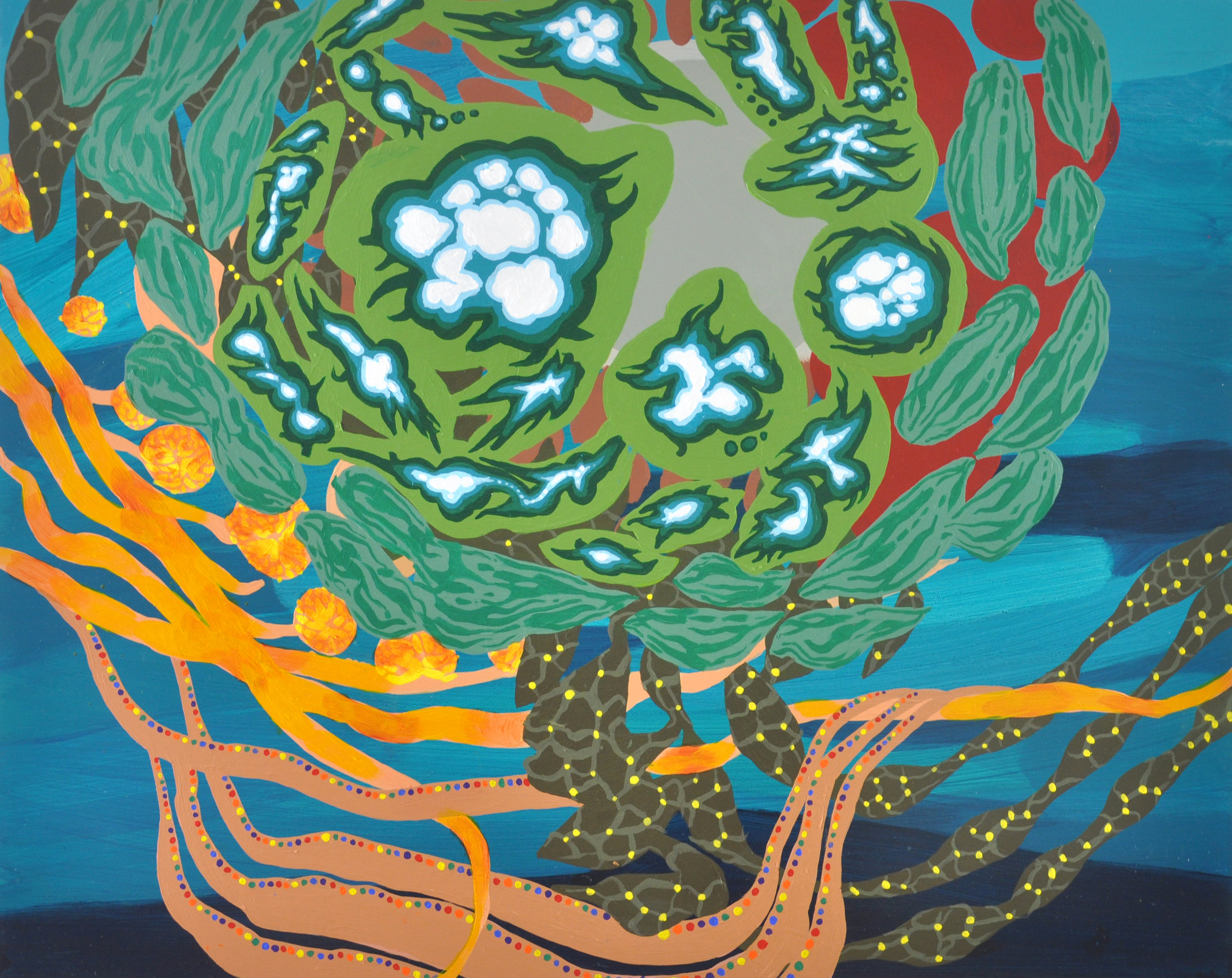 "Hydrothermal Eyes  16"" x 20"" acrylic on canvas, 2019"