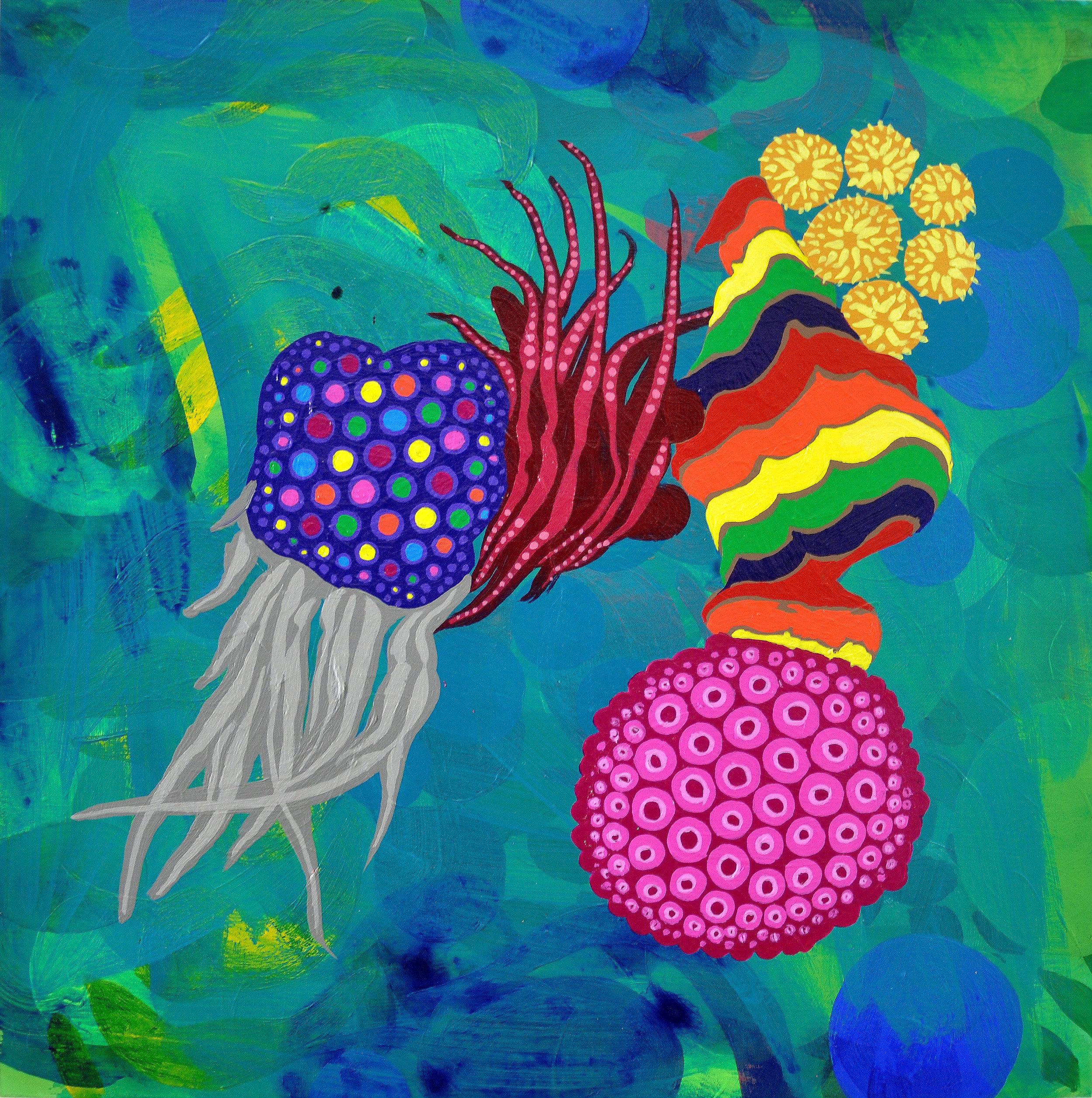 """Moons Over My Hammy  12"""" x 12"""" acrylic on canvas, 2019"""