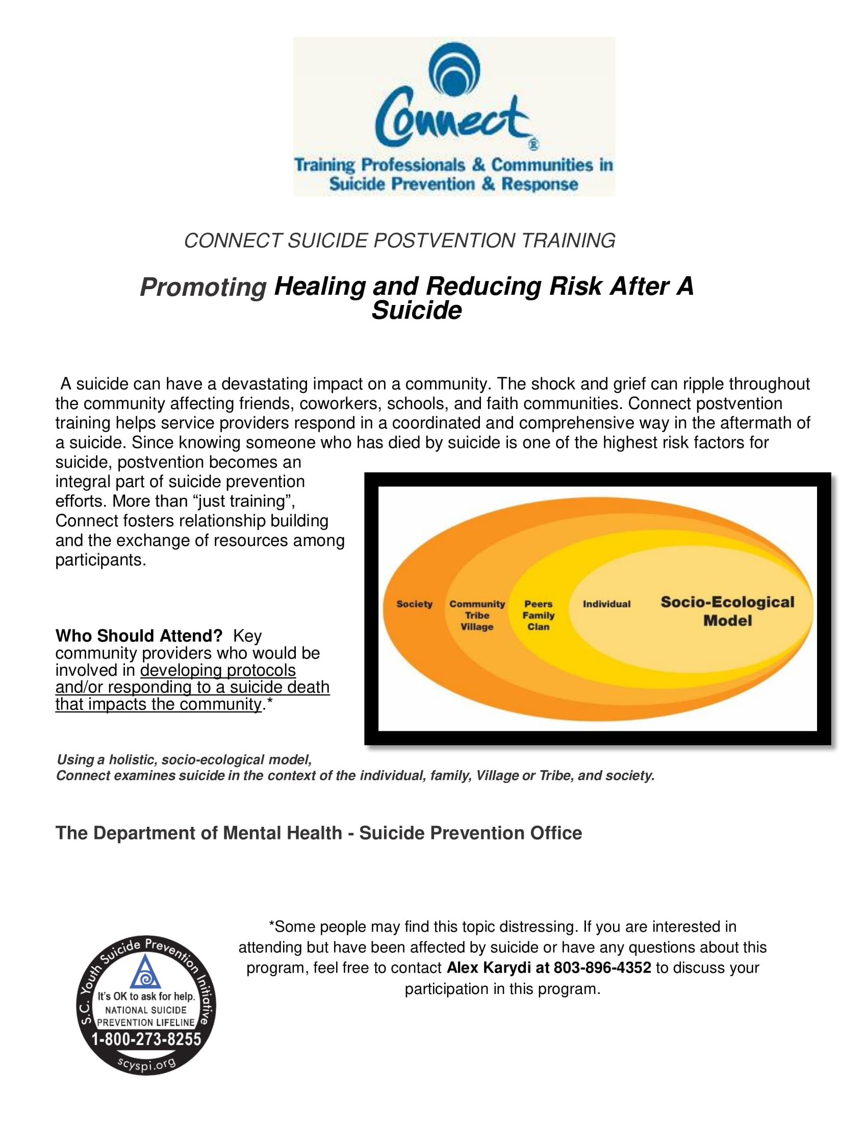 Connect Suicide Postvention Training Flyer
