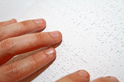 Braille user close up