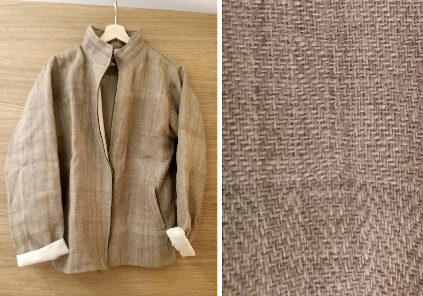 100% Nettle fiber jacket, handspun and handwoven.