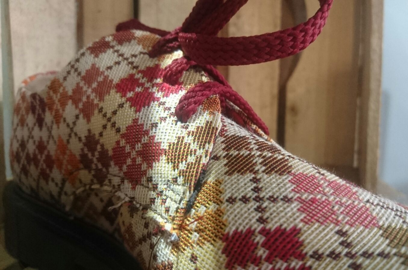Detail of woven upper fabric, made from hemp.