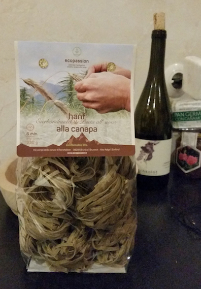Hemp pasta from Ecopassion and red wine from my host's vineyard = my dinner.