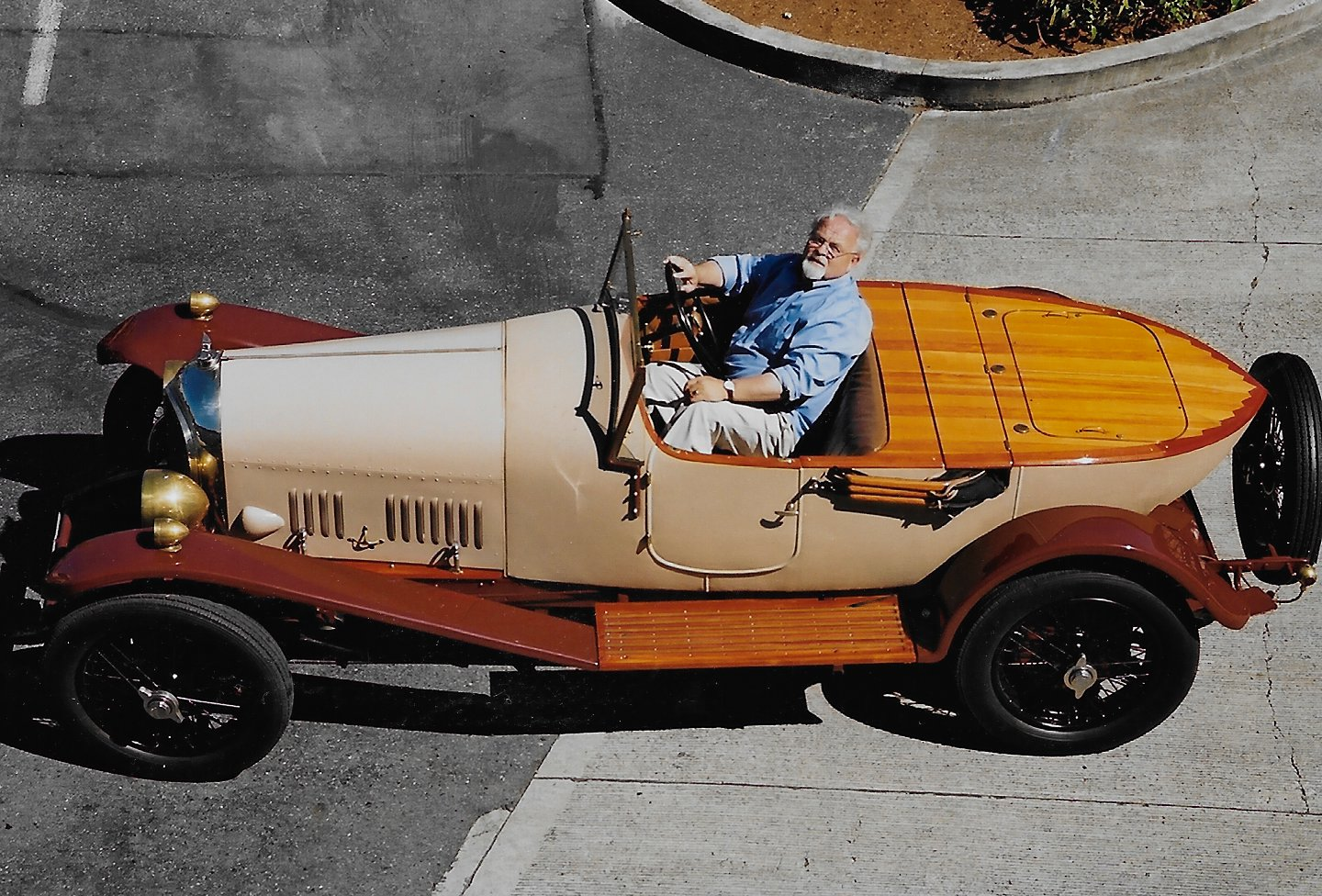 Peter behind the wheel of the ex-Cunningham Bentley 3 Litre Boattail